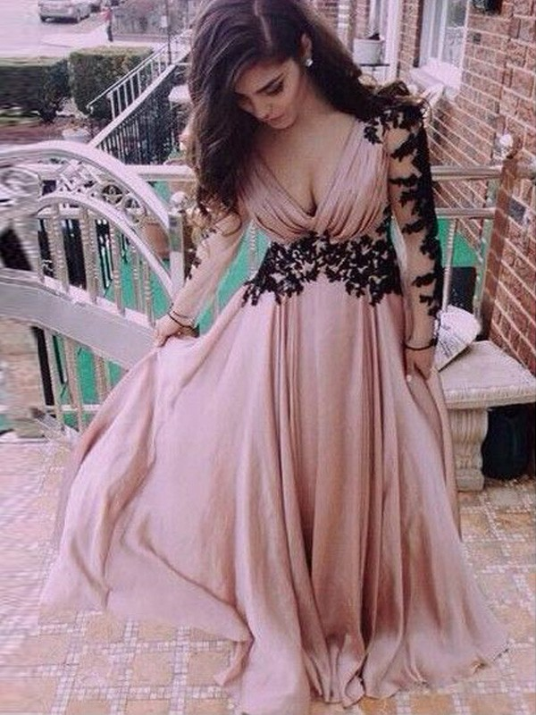 A-Line Chiffon V-neck Long Sleeves Floor-Length With Applique Dresses