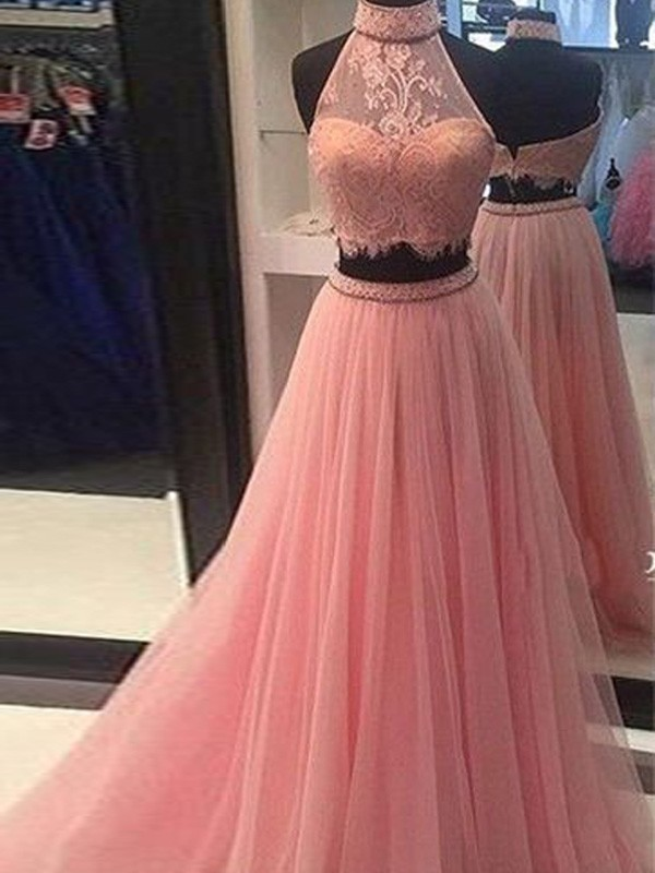 A-Line Tulle High Neck Sleeveless Floor-Length With Lace Two Piece Dresses