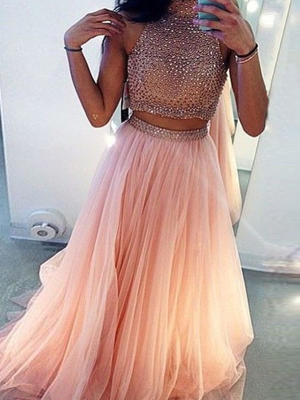 A-Line Tulle High Neck Sleeveless Sweep/Brush Train With Beading Two Piece Dresses