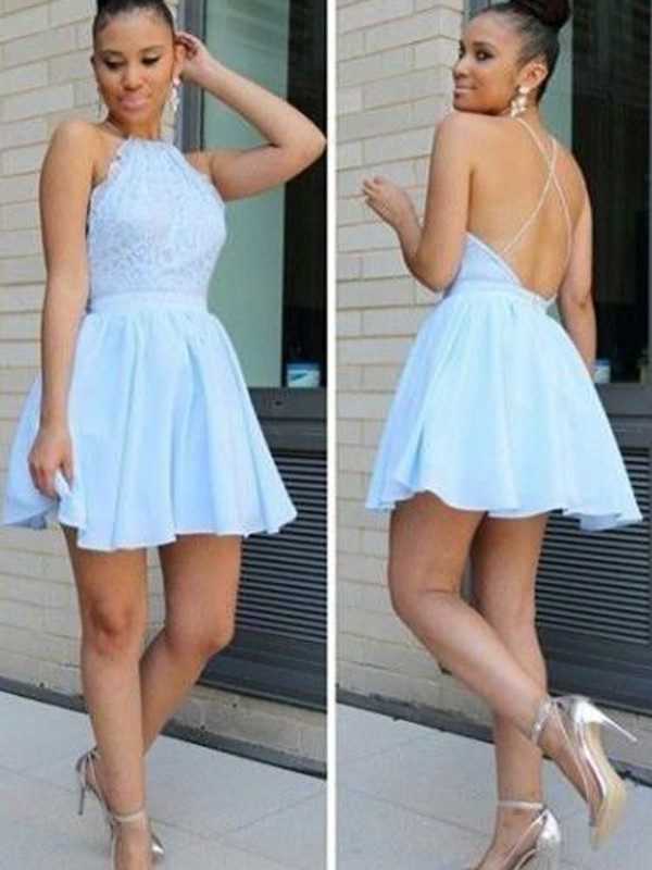 A-Line Chiffon Halter Sleeveless Short/Mini With Lace Dresses