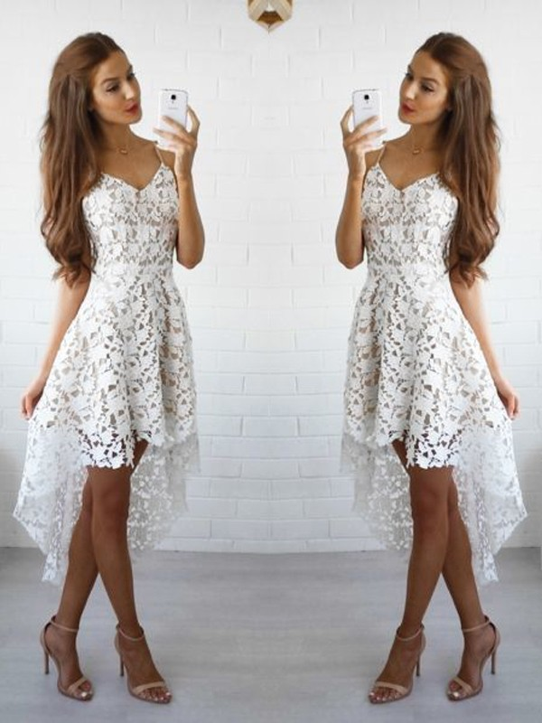 A-Line Lace Spaghetti Straps Sleeveless Short/Mini With Layers Dresses