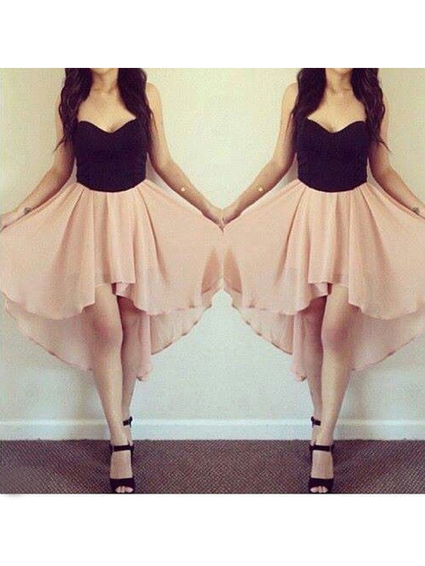 A-Line Chiffon Sweetheart Sleeveless Short/Mini With Ruffles Dresses