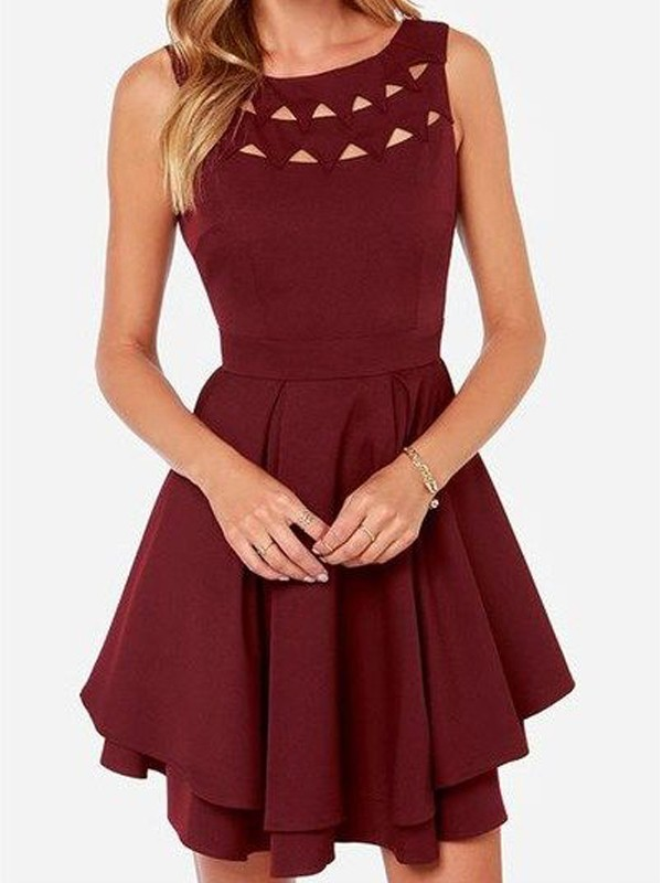 A-Line Jersey Scoop Sleeveless Short/Mini With Ruffles Dresses