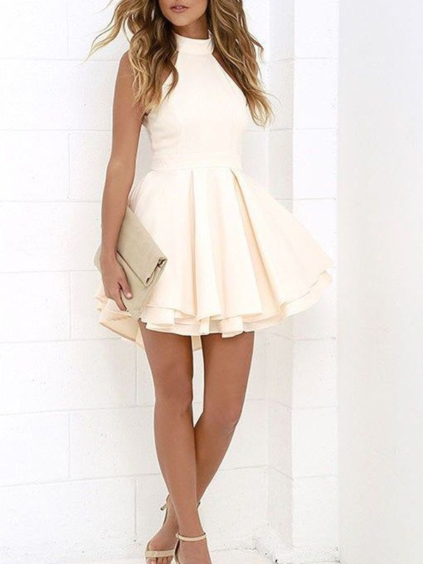 A-Line Satin Halter Sleeveless Short/Mini With Ruffles Dresses