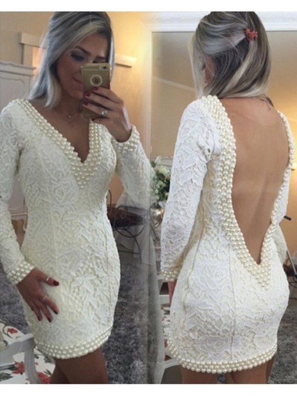 A-Line Lace V-neck Long Sleeves Short/Mini With Pearls Dresses