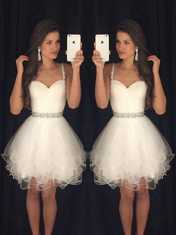 A-Line Tulle Sweetheart Sleeveless Short/Mini With Beading Dresses