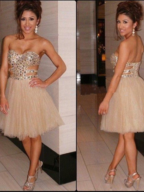 A-Line Tulle Sweetheart Sleeveless Short/Mini With Sequin Dresses