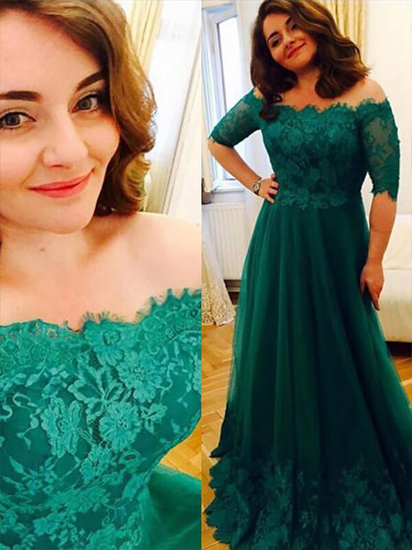 A-Line Tulle Off-the-Shoulder Short Sleeves Floor-Length With Applique Plus Size Dresses