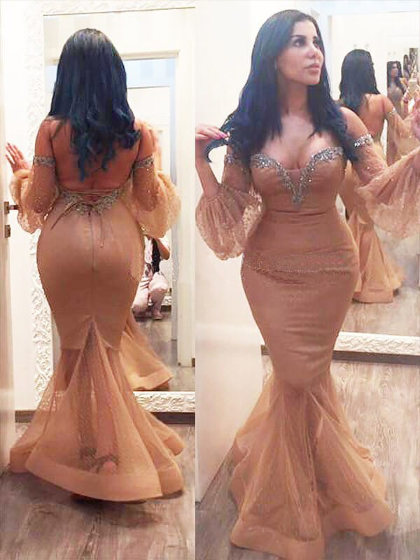 Mermaid Silk like Satin Off-the-Shoulder 3/4 Sleeves Floor-Length With Beading Plus Size Dresses