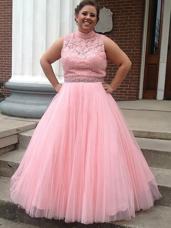 Ball Gown Tulle High Neck Sleeveless Floor-Length With Applique Plus Size Dresses