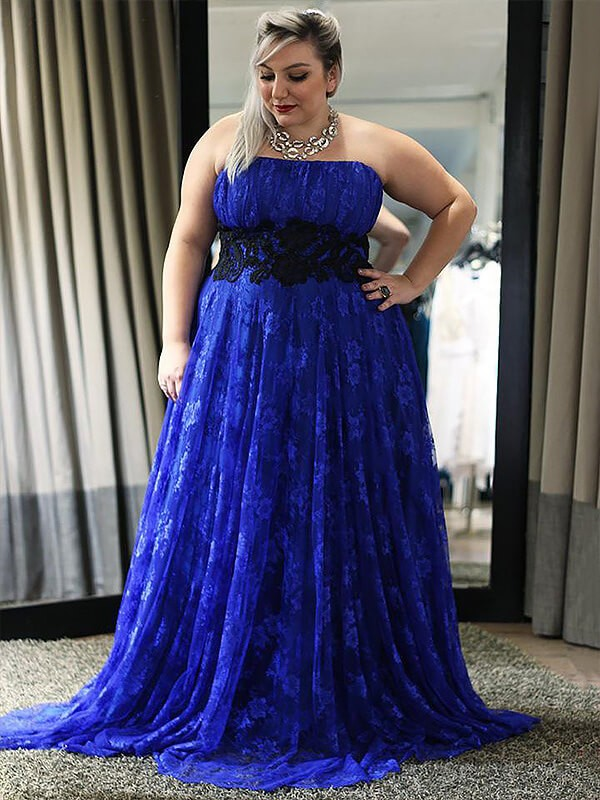 A-Line Lace Strapless Sleeveless Floor-Length With Applique Plus Size Dresses
