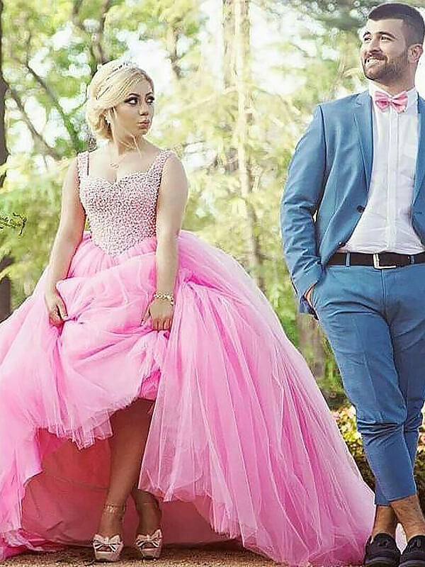 Ball Gown Tulle Sweetheart Sleeveless Sweep/Brush Train With Pearls Plus Size Dresses