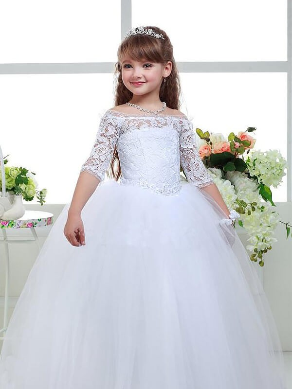 Ball Gown Tulle Off-the-Shoulder 1/2 Sleeves Floor-Length With Lace Flower Girl Dresses