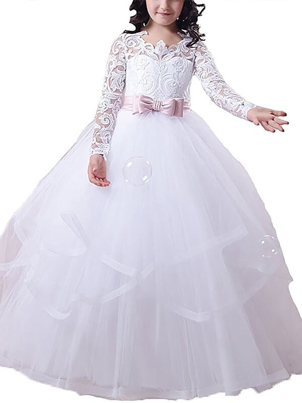 Ball Gown Tulle Jewel Long Sleeves Floor-Length With Lace Flower Girl Dresses