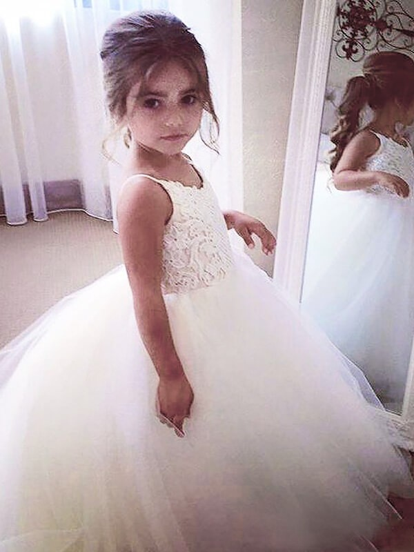 Ball Gown Tulle Jewel Sleeveless Floor-Length With Lace Flower Girl Dresses