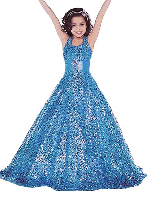 Ball Gown Sequins Halter Sleeveless Floor-Length With Sash/Ribbon/Belt Flower Girl Dresses