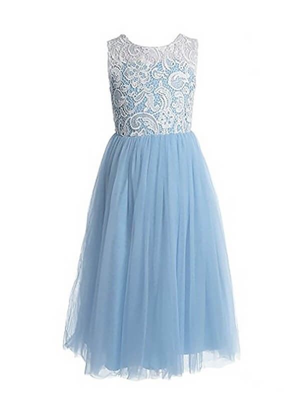 A-Line Tulle Jewel Sleeveless Ankle-Length With Lace Flower Girl Dresses