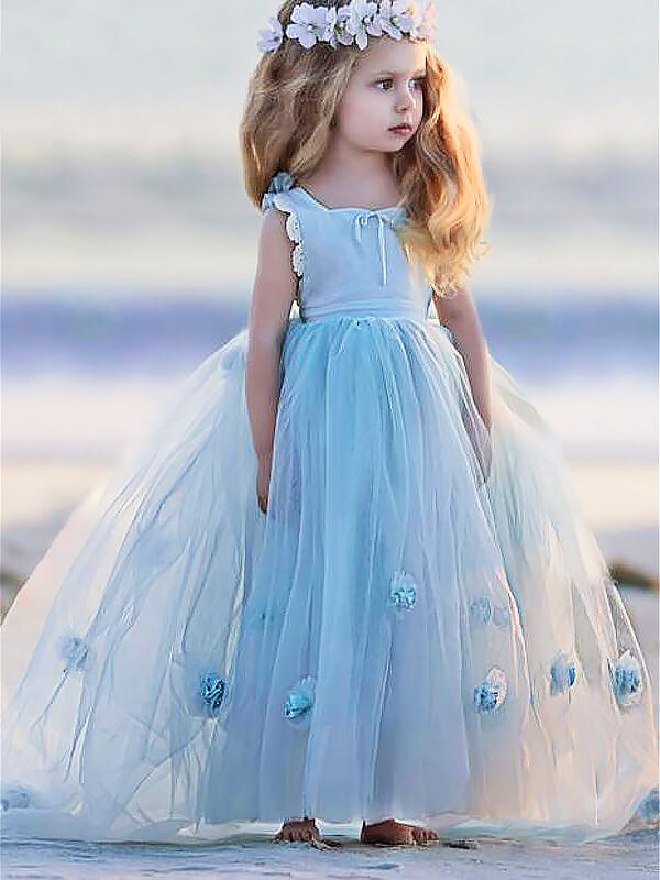 Ball Gown Tulle Bateau Sleeveless Floor-Length With Hand-Made Flower Flower Girl Dresses