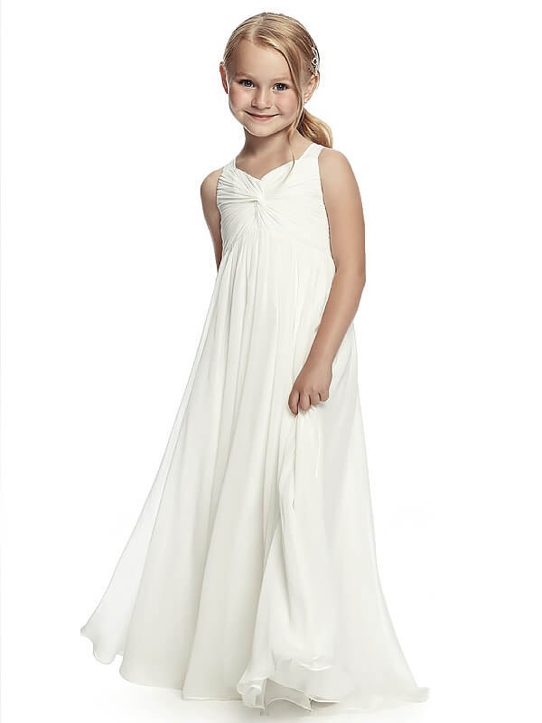 A-Line Chiffon Straps Sleeveless Floor-Length With Ruched Flower Girl Dresses