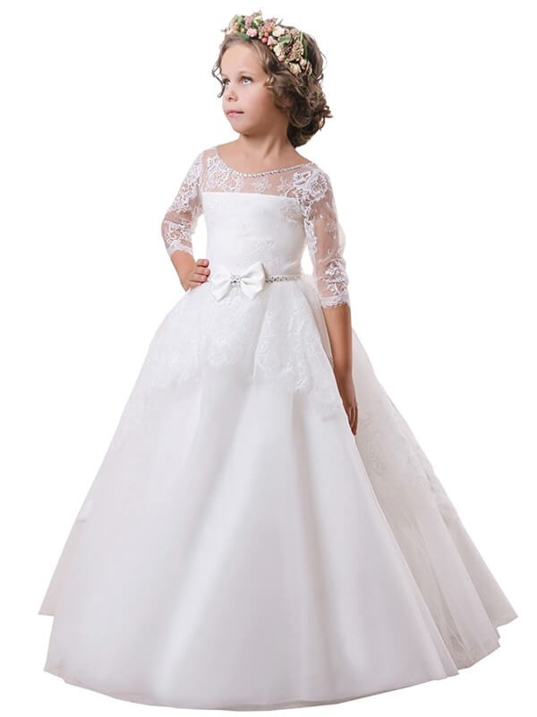 Ball Gown Satin Jewel Long Sleeves Sweep/Brush Train With Lace Flower Girl Dresses