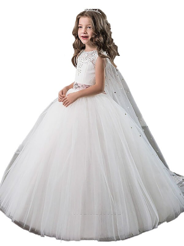 Ball Gown Tulle Jewel Sleeveless Floor-Length With Beading Flower Girl Dresses