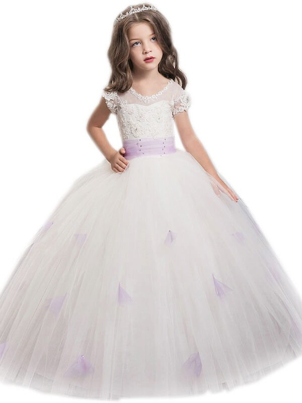 Ball Gown Tulle Jewel Short Sleeves Floor-Length With Sash/Ribbon/Belt Flower Girl Dresses