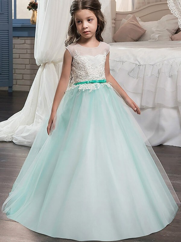 Ball Gown Tulle Jewel Sleeveless Floor-Length With Sash/Ribbon/Belt Flower Girl Dresses