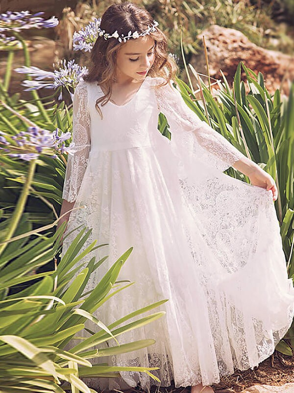 A-Line Lace V-neck Long Sleeves Floor-Length With Ruffles Flower Girl Dresses