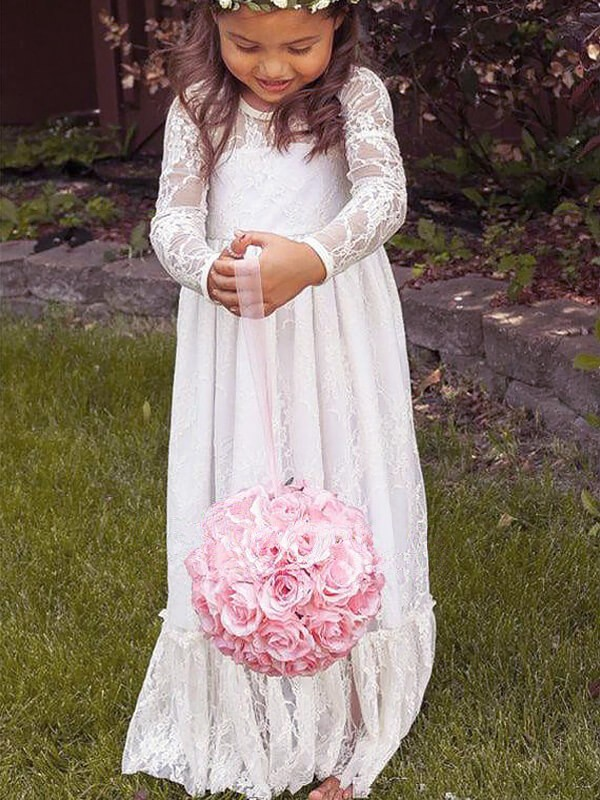 A-Line Lace Jewel Long Sleeves Floor-Length With Bowknot Flower Girl Dresses