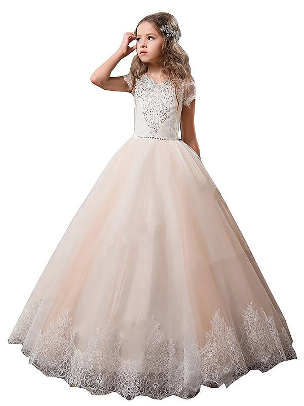 Ball Gown Tulle V-neck Short Sleeves Floor-Length With Lace Flower Girl Dresses