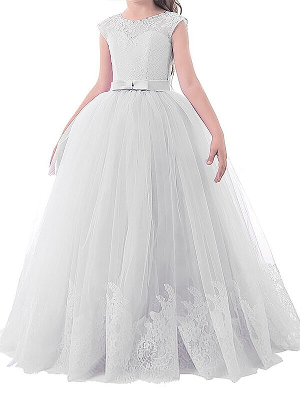 Ball Gown Tulle Jewel Sleeveless Floor-Length With Bowknot Flower Girl Dresses