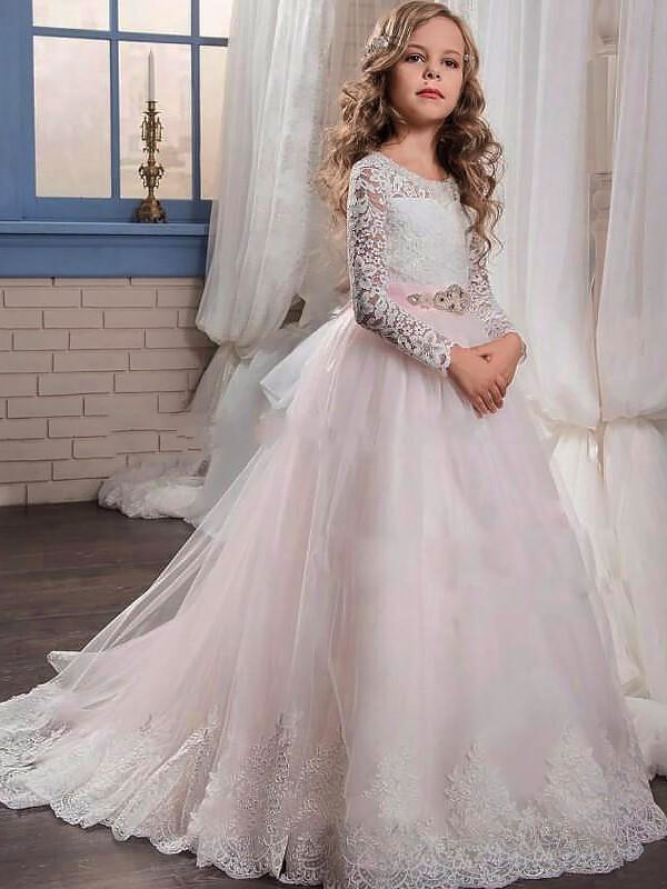 Ball Gown Tulle Jewel Long Sleeves Sweep/Brush Train With Lace Flower Girl Dresses