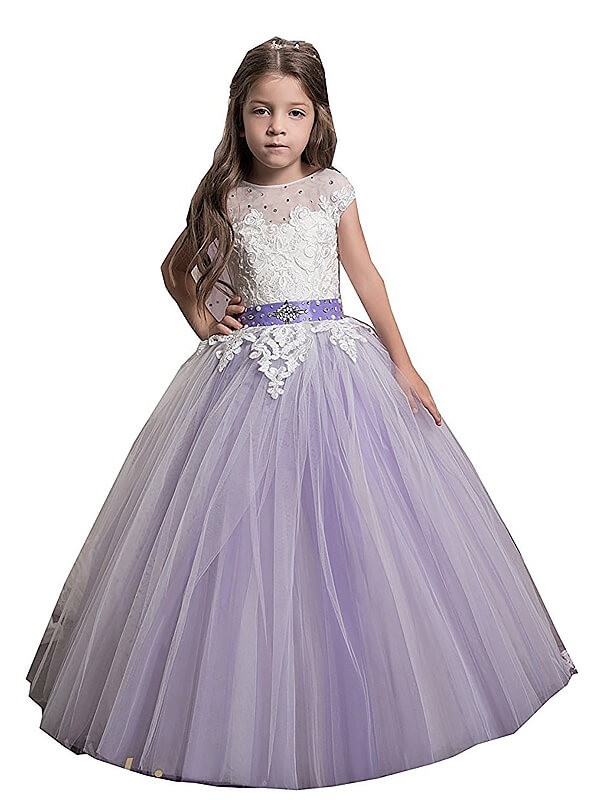 Ball Gown Tulle Jewel Sleeveless Floor-Length With Applique Flower Girl Dresses