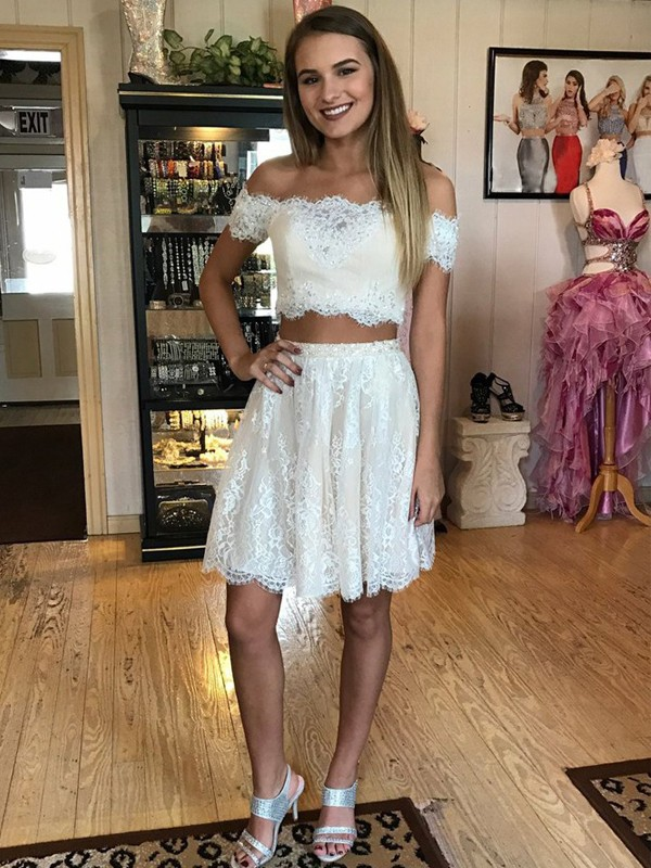 A-Line Lace Off-the-Shoulder Sleeveless Short/Mini With Ruffles Dresses