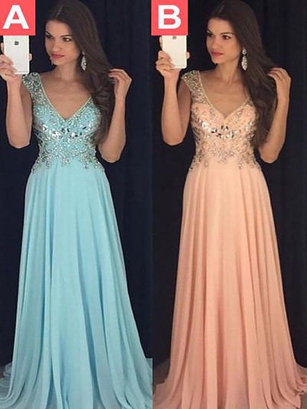 A-Line Sleeveless V-neck Chiffon Paillette Floor-Length Dresses