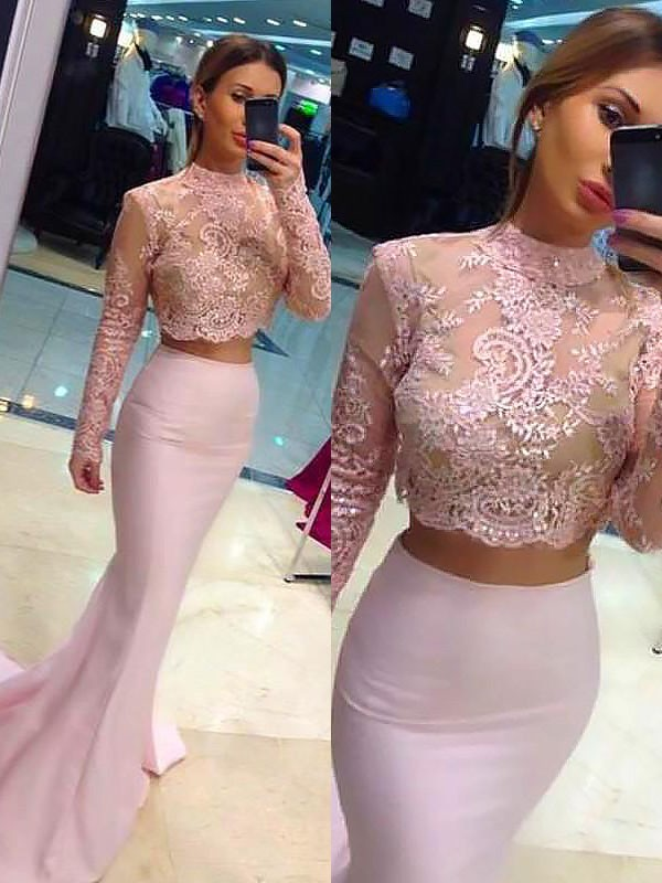 Sheath Long Sleeves With Lace Sweep/Brush Train High Neck Satin Two Piece Dresses