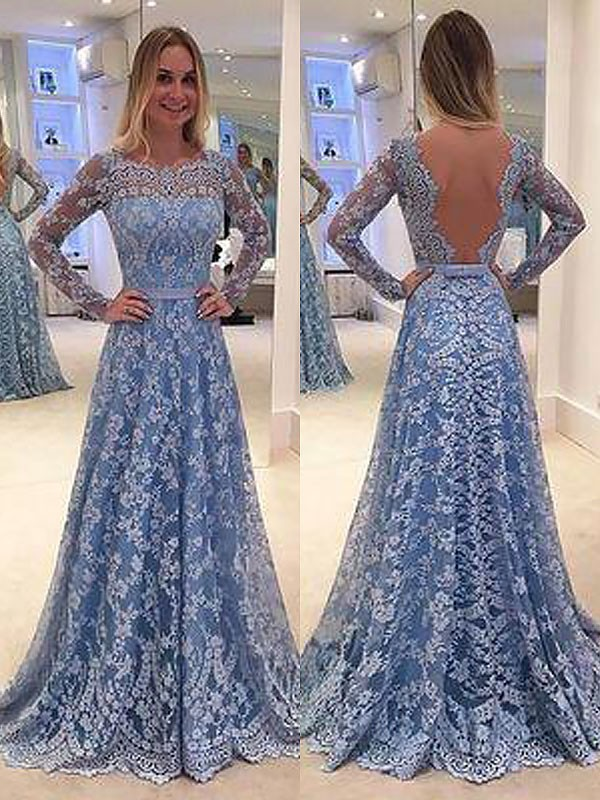 A-Line Long Sleeves Lace Floor-Length Bateau With Ruffles Dresses
