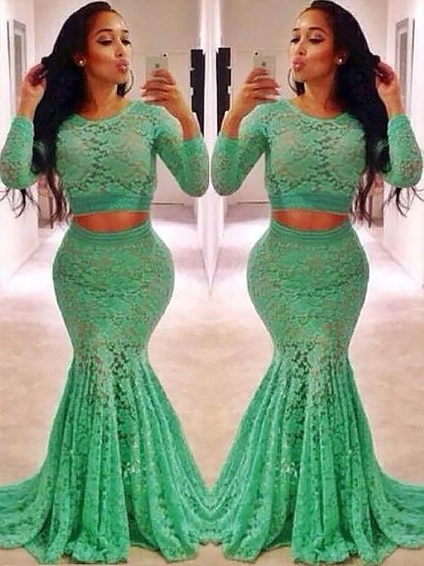 Mermaid Scoop Long Sleeves Lace With Ruffles Sweep/Brush Train Two Piece Dresses