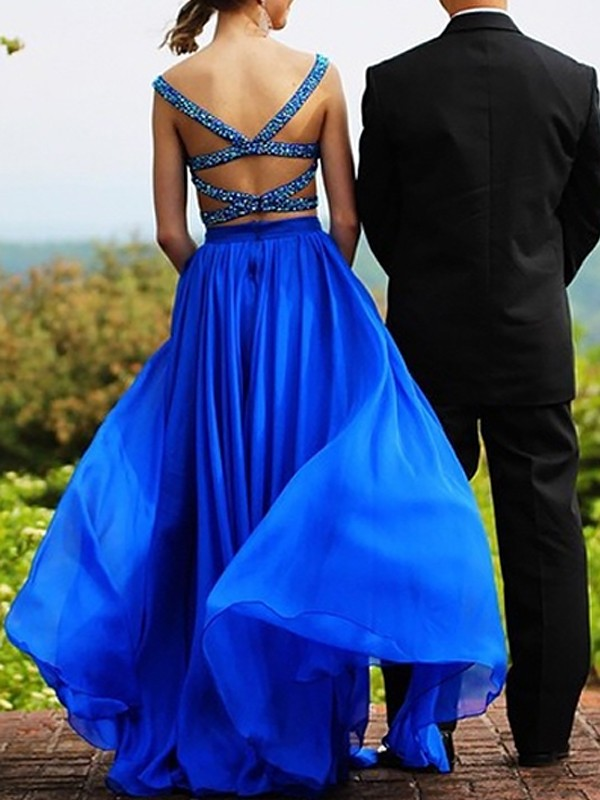 A-Line Sleeveless Sweetheart Chiffon With Beading Floor-Length Two Piece Dresses