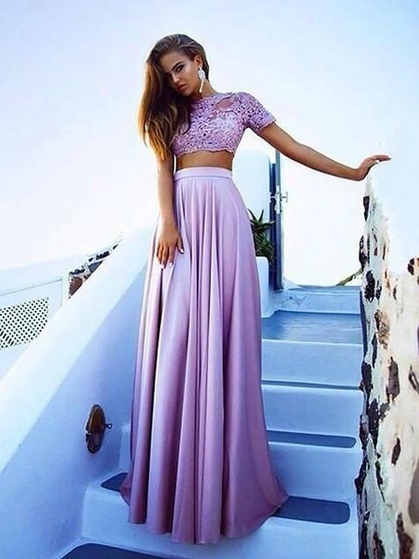 A-Line Bateau Short Sleeves Satin Floor-Length With Lace Two Piece Dresses