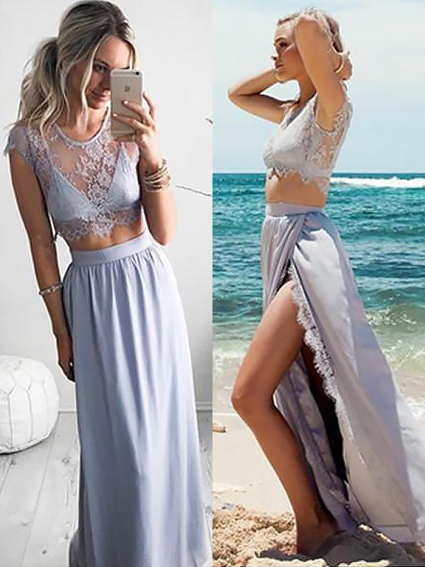 A-Line Jewel Sleeveless Satin Floor-Length With Lace Two Piece Dresses