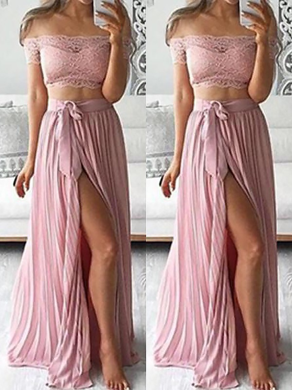 A-Line Off-the-Shoulder Sleeveless Chiffon Floor-Length With Lace Two Piece Dresses