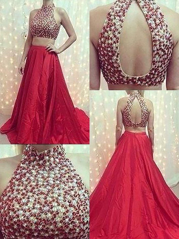 A-Line High Neck Sleeveless Satin Sweep/Brush Train With Beading Two Piece Dresses