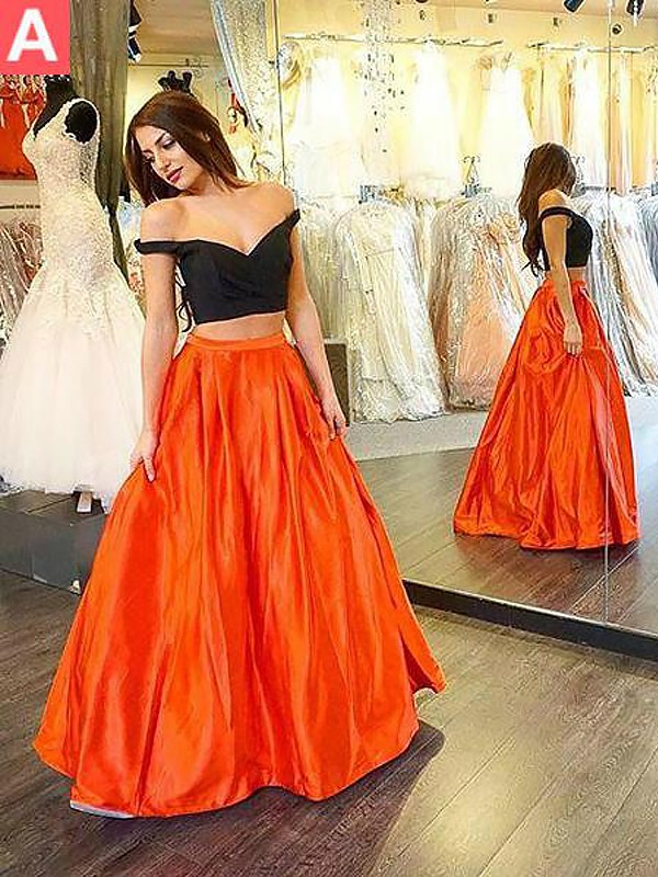 A-Line Off-the-Shoulder Sleeveless Taffeta Floor-Length With Ruffles Two Piece Dresses