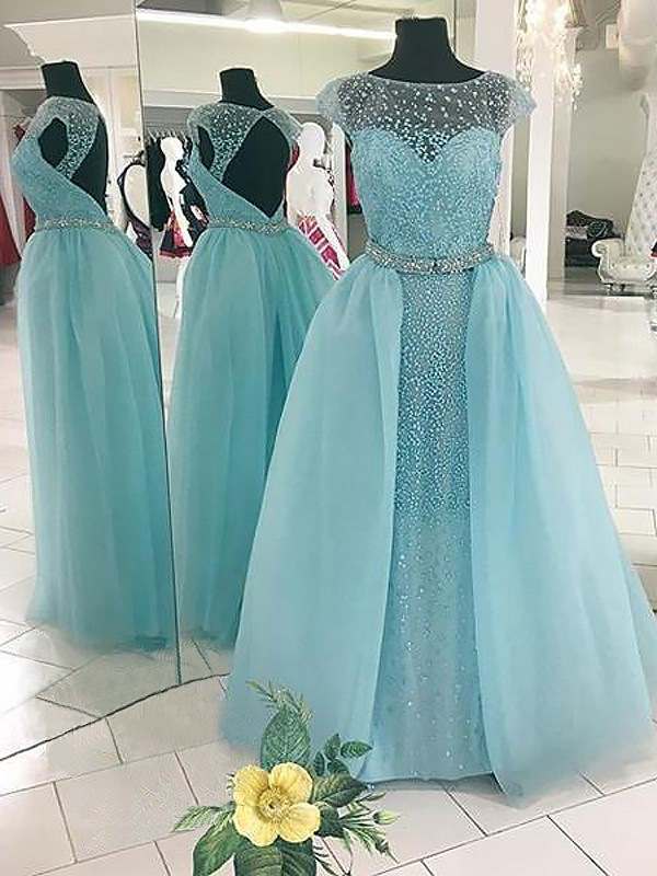 Ball Gown Sleeveless Bateau With Beading Floor-Length Tulle Dresses