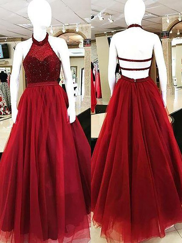 Ball Gown Sleeveless Halter With Beading Floor-Length Tulle Dresses
