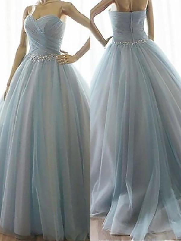 Ball Gown Sleeveless Sweetheart With Beading Floor-Length Tulle Dresses
