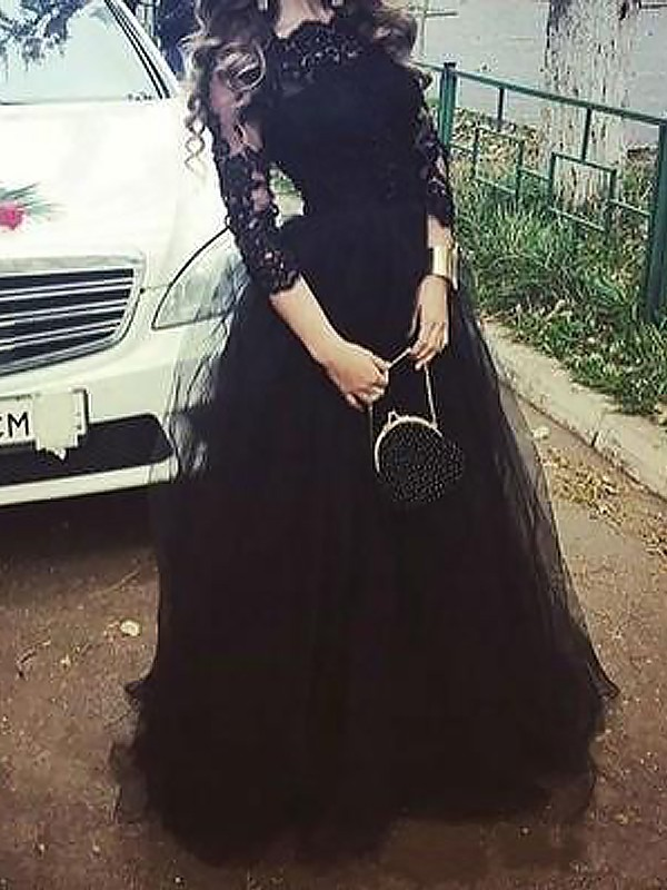 Ball Gown 3/4 Sleeves Bateau With Lace Floor-Length Tulle Dresses
