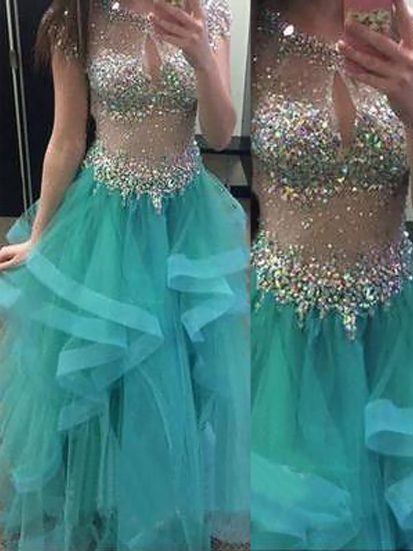 Ball Gown Sleeveless Jewel With Beading Floor-Length Organza Dresses
