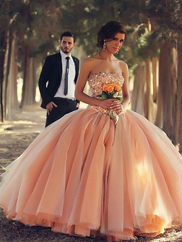 Ball Gown Sleeveless Strapless With Beading Floor-Length Tulle Dresses